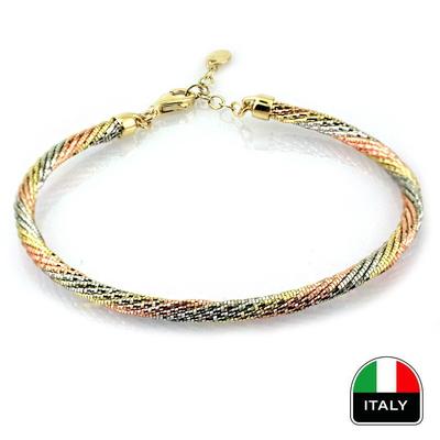 kuyumcunuznet - İtalyan Üç Renk Kelepçe Bileklik (14 Ayar)