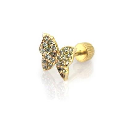 kuyumcunuznet - Kelebek Tragus Altın Piercing Küpe (14 Ayar)