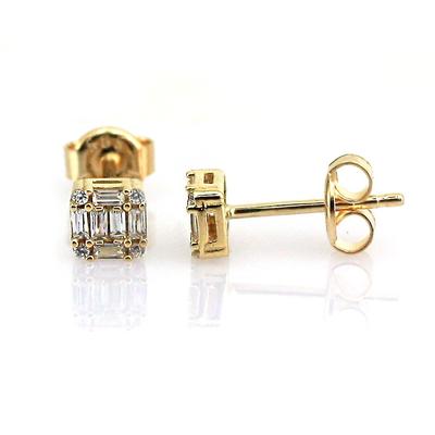 Küçük Baget Taşlı Altın Küpe (14 Ayar)