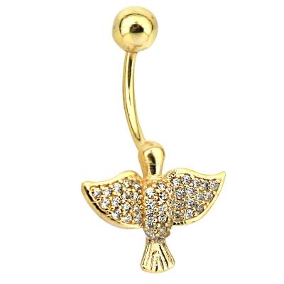 kuyumcunuznet - Kuş Motifli Altın Göbek Piercing (14 Ayar)