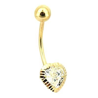 Lazerli Altın Kalp Göbek Piercing (14 Ayar)