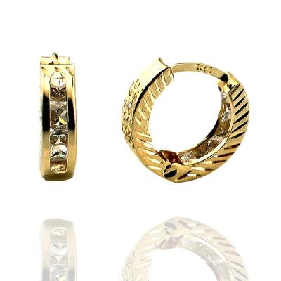 kuyumcunuznet - Lazerli Taşlı Altın Halka Küpe (14 Ayar)
