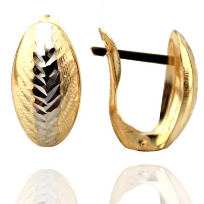 kuyumcunuznet - Lazerli Taşsız Şık Altın Küpe (14 ayar)