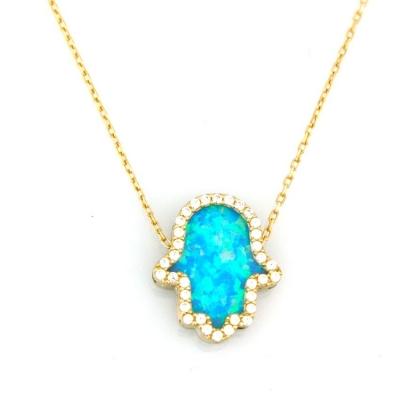 kuyumcunuznet - Mavi Opal Taşlı Fatma Ana Kolyesi (14 Ayar)