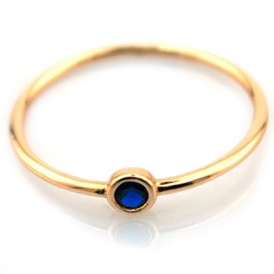 Mavi Taşlı Altın Eklem Yüzüğü (14 Ayar)