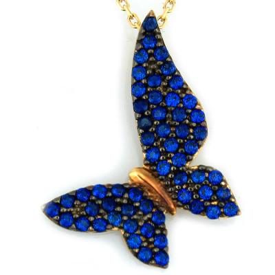 kuyumcunuznet - Mavi Taşlı Altın Kelebek Kolye (14 Ayar)