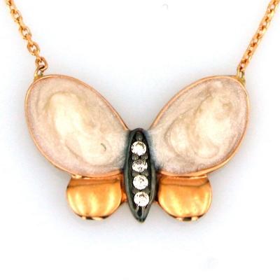kuyumcunuznet - Mineli Altın Kelebek Kolye (14 Ayar)