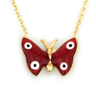 kuyumcunuznet - Mineli Altın Kelebek Kolye (8 Ayar)