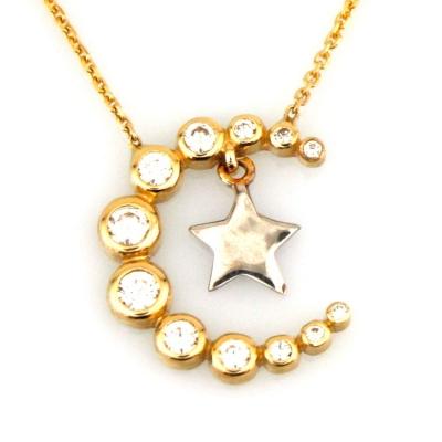 kuyumcunuznet - Modern Altın Ay Yıldız Kolye (14 Ayar)