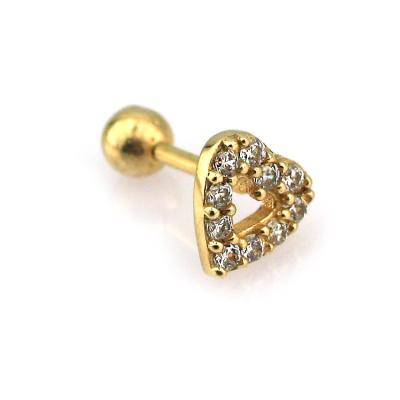 kuyumcunuznet - Modern Kalp Altın Tragus Piercing (14 Ayar)