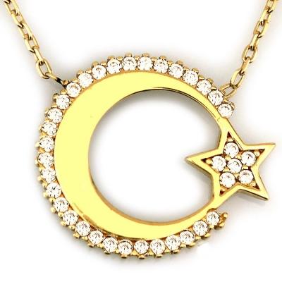 kuyumcunuznet - Modern Zarif Türk Bayrağı Ay Yıldız Altın Kolye (14 Ayar)