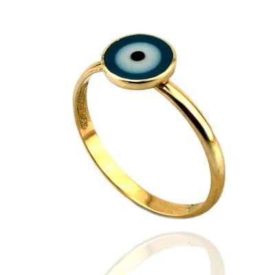 kuyumcunuznet - Nazar Boncuklu Altın Çocuk Yüzüğü (14 Ayar)