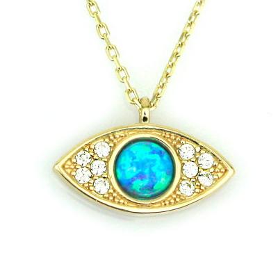 kuyumcunuznet - Opal Taşlı Altın Göz Kolye (14 Ayar)