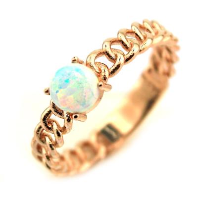 kuyumcunuznet - Opal Taşlı Rose Altın Tasarım Yüzük (14 Ayar)