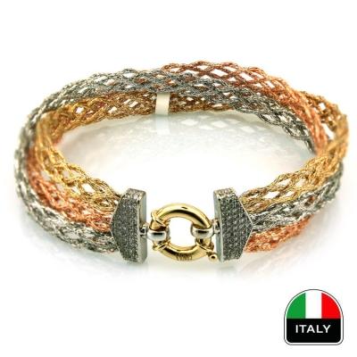 kuyumcunuznet - Örgü El İşi İtalyan Bileklik Künye (14 Ayar)