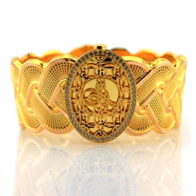 Osmanlı Tuğralı Kalın Altın Kelepçe Bilezik (8 Ayar)
