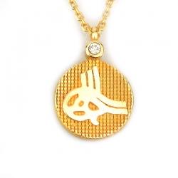 Osmanlı Tuğralı Zarif Altın Kolye (14 Ayar) - Thumbnail