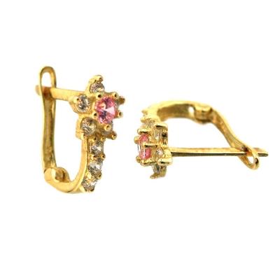 kuyumcunuznet - Pembe Taşlı Çiçek Model Altın Çocuk Küpesi (14 Ayar)