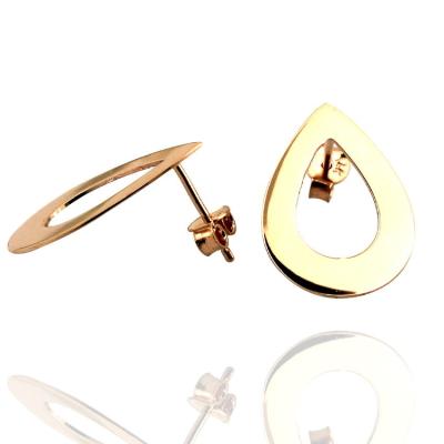 kuyumcunuznet - Plaka Damla Model Taşsız Altın Küpe (14 Ayar)