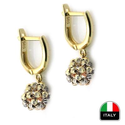 kuyumcunuznet - Sallantılı İtalyan Altın Top Küpe (14 Ayar)