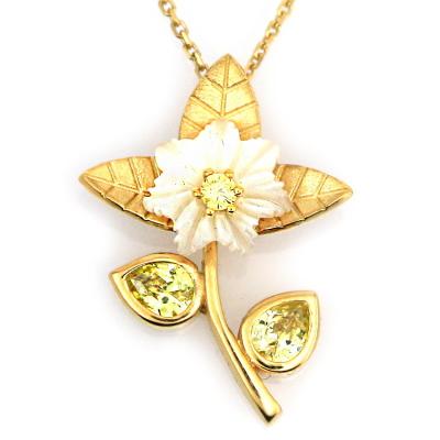 kuyumcunuznet - Sedefli Büyük Zarif Altın Çiçek Kolye (14 Ayar)