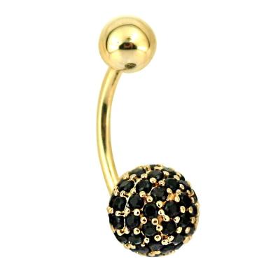 kuyumcunuznet - Siyah Taşlı Altın Göbek Piercing (14 Ayar)