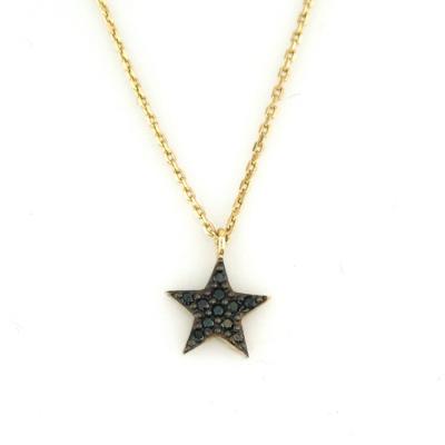 kuyumcunuznet - Siyah Taşlı Altın Yıldız Kolye (8 Ayar)