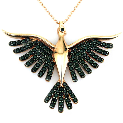 kuyumcunuznet - Siyah Taşlı Anka Kuşu Altın Kolye (14 Ayar)