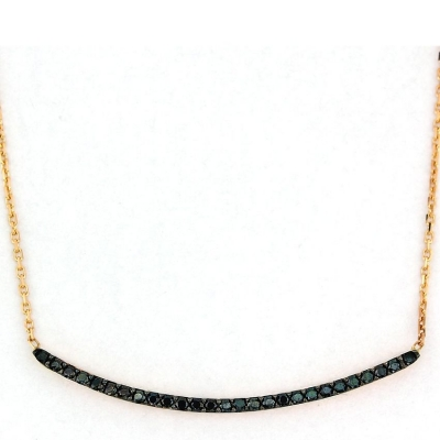 kuyumcunuznet - Siyah Taşlı Modern Altın Kolye (14 Ayar)