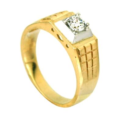 kuyumcunuznet - Tasarım Taşlı Altın Erkek Yüzüğü (14 Ayar)