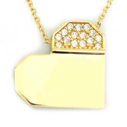 Tasarım Taşlı Altın Kalp Kolye (14 Ayar) - Thumbnail