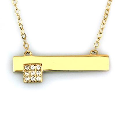 kuyumcunuznet - Taşlı Altın Plaka Kolye (14 Ayar)