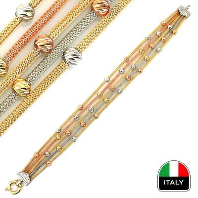 kuyumcunuznet - Taşlı İtalyan Modern Altın Bileklik Künye (14 Ayar)