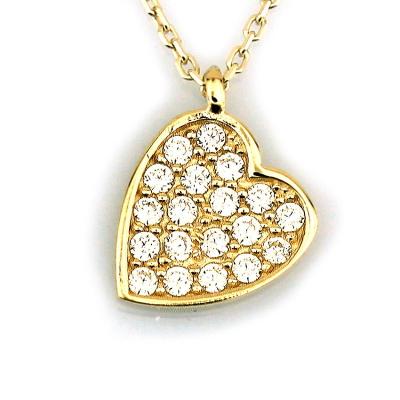 kuyumcunuznet - Taşlı Kalp Altın Kolye (8 Ayar)