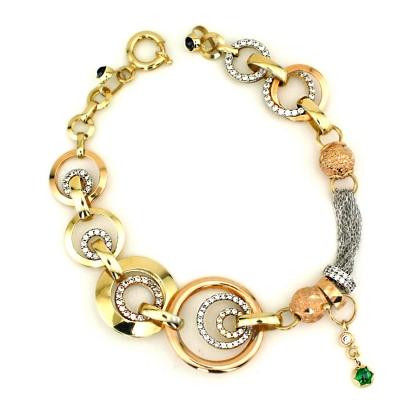 kuyumcunuznet - Taşlı Moden İtalyan Altın Künye Bileklik (14 Ayar)