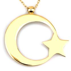 Taşsız Ay Yıldız Türk Bayrağı Altın Kolye (14 Ayar) - Thumbnail