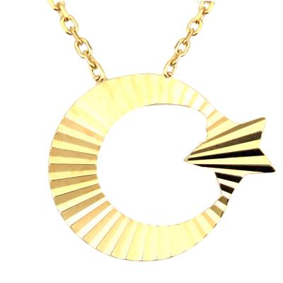 kuyumcunuznet - Taşsız Lazerli Altın Ay Yıldız Kolye (14 Ayar)