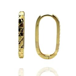 Taşsız Lazerli Uzun Altın Halka Küpe (14 Ayar) - Thumbnail