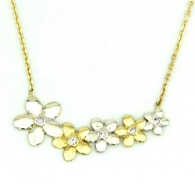 kuyumcunuznet - Tek Taş Montürlü Çiçekli Altın Kolye (8 Ayar)