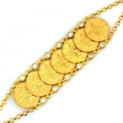 Tuğralı Altın Bileklik Künye (14 Ayar) - Thumbnail