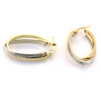 kuyumcunuznet - Uzun Gösterişli Altın Oval Küpe (14 Ayar)