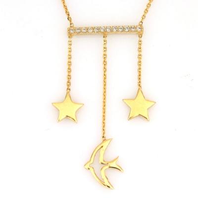 kuyumcunuznet - Yıldızlı Kırlangıçlı Yeni Altın Şans Kolyesi (14 Ayar)