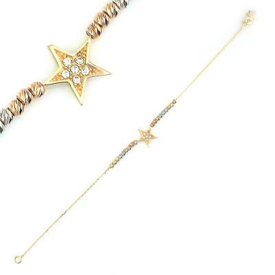 kuyumcunuznet - Yıldızlı Zarif İtalyan Altın Bileklik (14 Ayar)