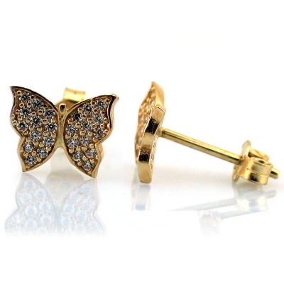 Zarif Gösterişli Altın Kelebek Küpe (14 Ayar)