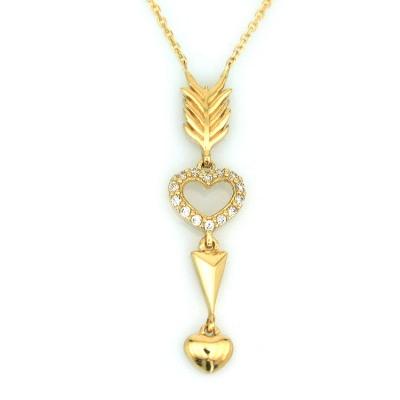 kuyumcunuznet - Zarif Kalpli Taşlı Altın Kolye (14 Ayar)