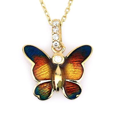 kuyumcunuznet - Zarif Mineli Altın Kelebek (14 Ayar)