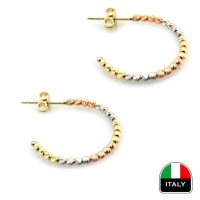 Zarif Taşsız İtalyan Altın Küpe (14 Ayar)