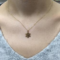 Zarif Yıldız Kar Tanesi Altın Kolye (14 Ayar) - Thumbnail